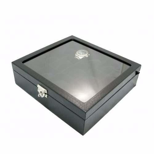 Estojo de Luxo Porta Relógios de Coleção 15 Slots com Vidro