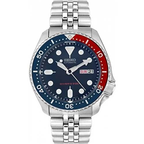 Relógio Seiko SKX009K2 Pepsi Automático Diver 200m Pulseira de Aço