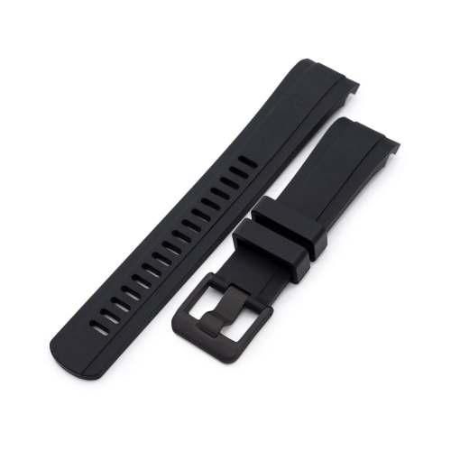 Pulseira 22mm Crafter Blue - CB10 Black Borracha Lugs Curvos para Relógios Seiko SKX007