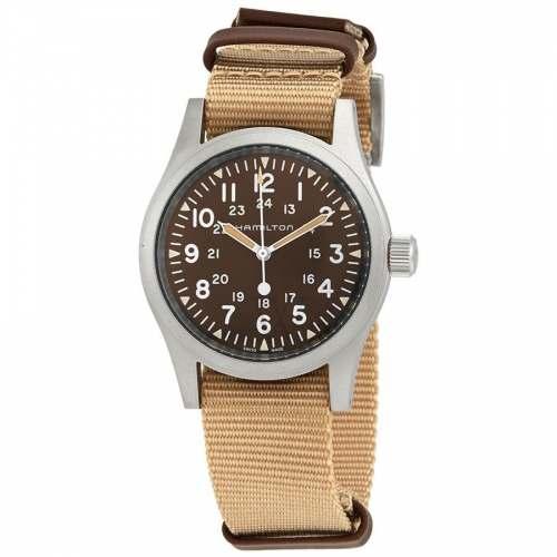 Relógio Hamilton Khaki Field H69439901 Corda Manual Bege 38mm Calibre H-10