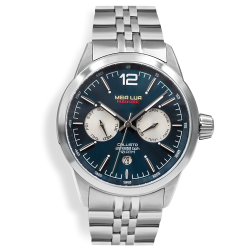 Relógio Meia Lua Callisto Semi Blue Automático - Microbrand Portuguesa CAL-SLV-SBLU