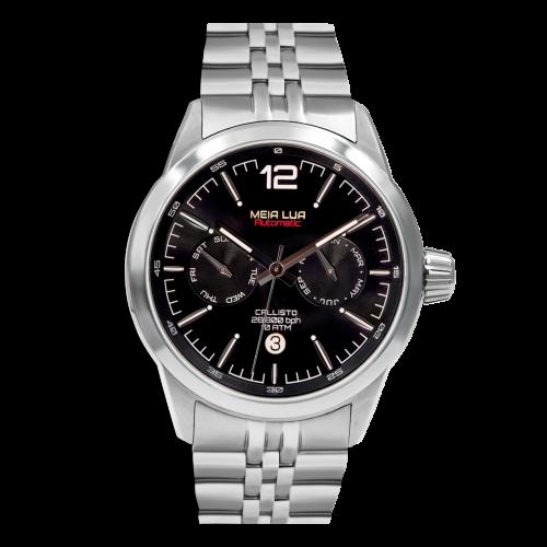 Relógio Meia Lua Callisto Ion Black Automático - Microbrand Portuguesa CAL-SLV-BLK