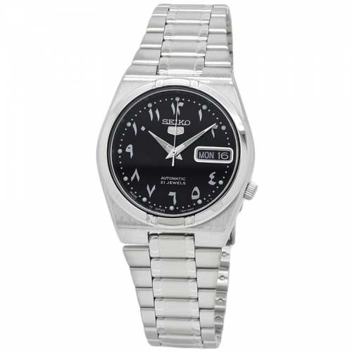 Relógio Seiko 5 Arabic Dial Automático Bracelete de Aço JDM SNK063J5 34,6mm