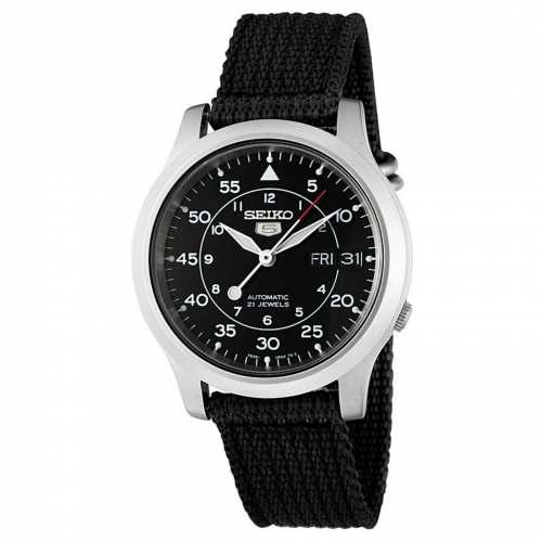 Relógio Seiko 5 Automático Militar SNK809 Preto 37mm Pulseira Canvas