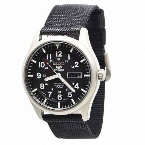 Relógio Seiko 5 Sports SNZG15J1 Preto Automático Militar 100M