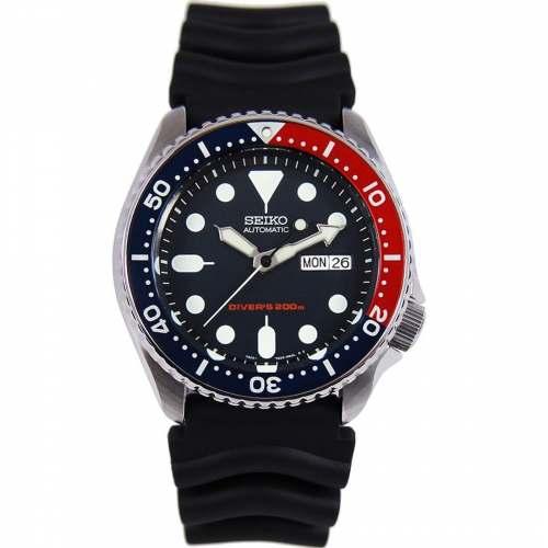 Relógio Seiko Masculino SKX009K1 Pepsi Diver Automático Pulseira de Borracha