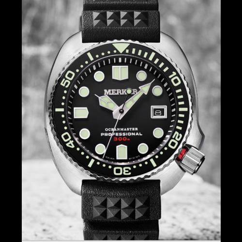 Relógio MERKUR OCEANMASTER Preto - Diver 300M + Safira + Bezel Cerâmica